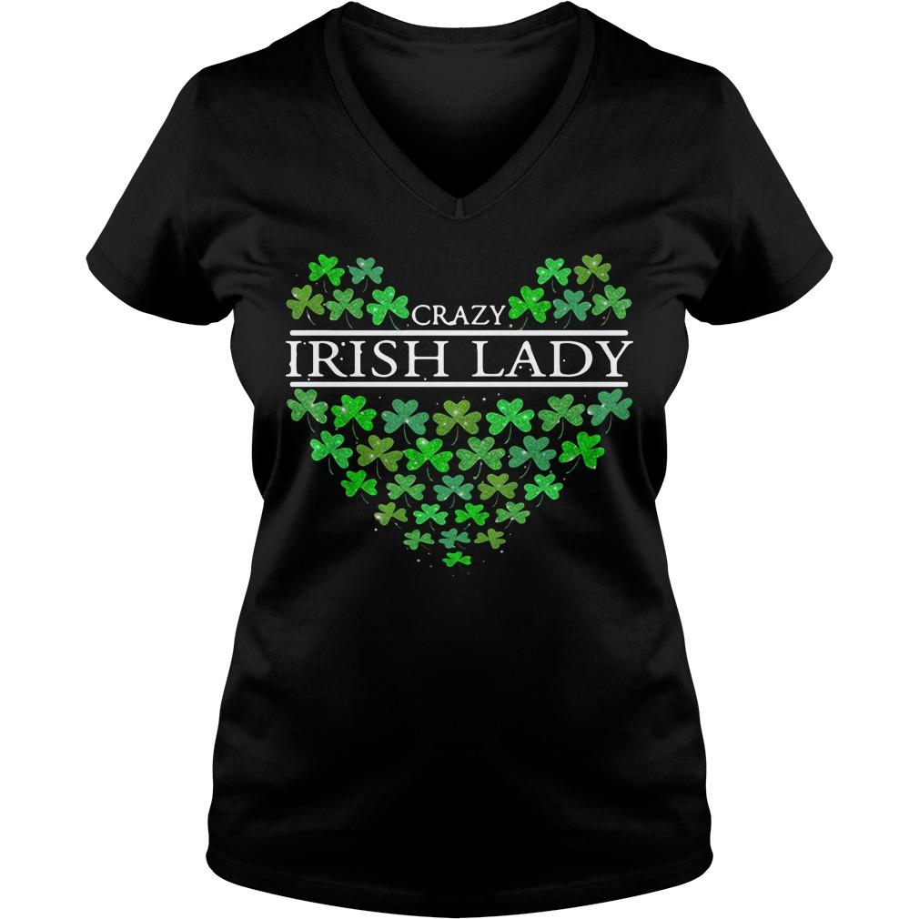 St. Patrick's Day Crazy Irish Lady Heart V-neck t-shirt