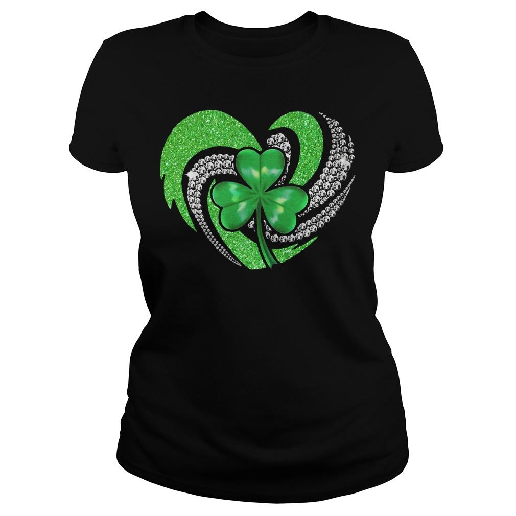 St Patricks Day Shamrock Irish Heart Ladies tee