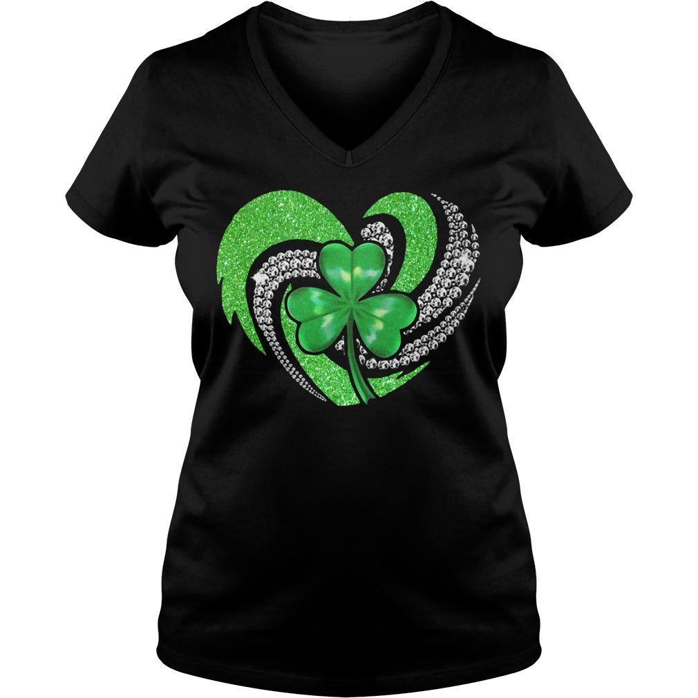 St Patricks Day Shamrock Irish Heart V-neck t-shirt