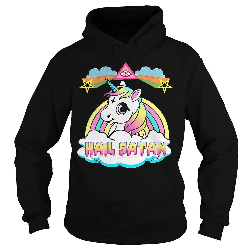 Unicorn Hail satan rainbow Hoodie