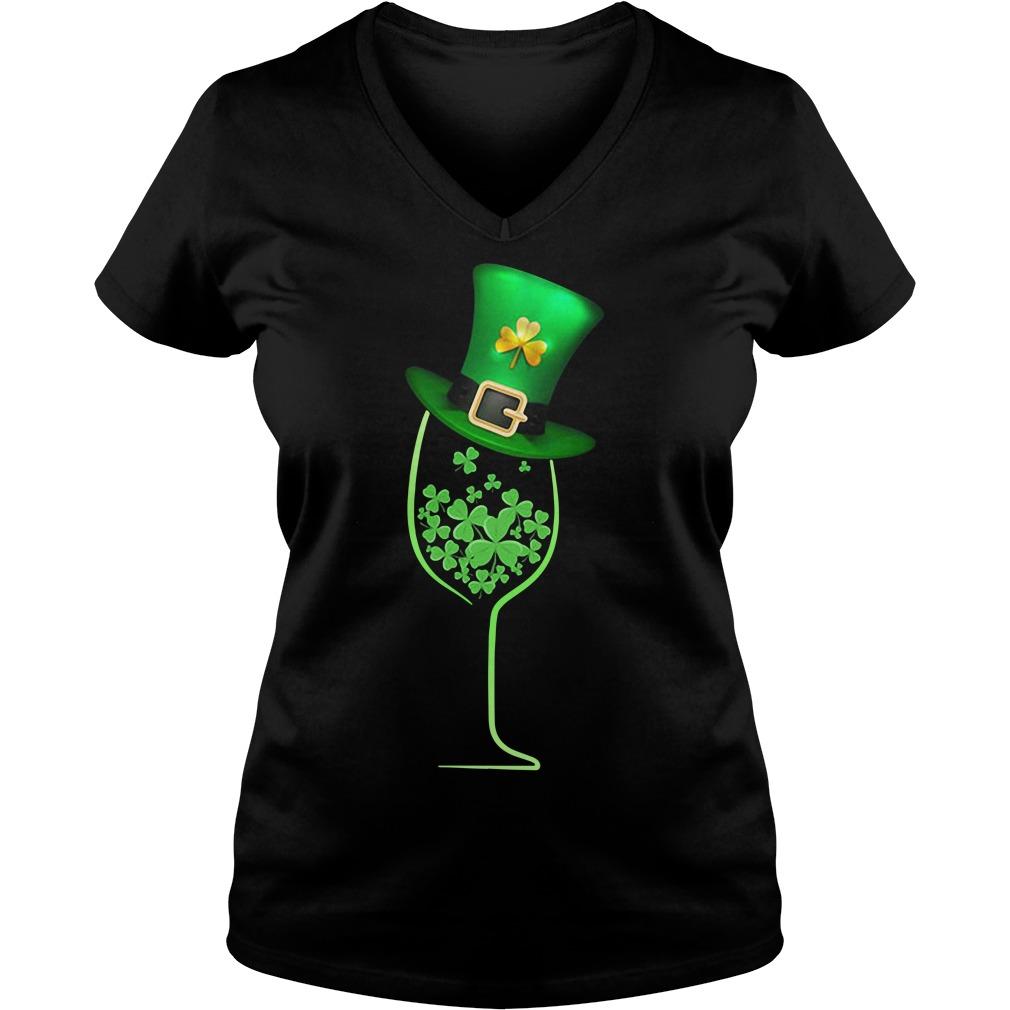Wine shamrock irish V-neck t-shirt