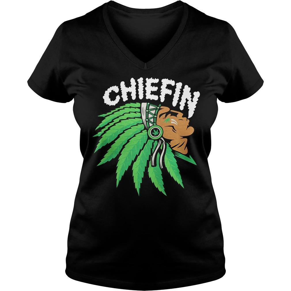 Chiefin weed smoking Indian Irish St. Patrick day V-neck t-shirt