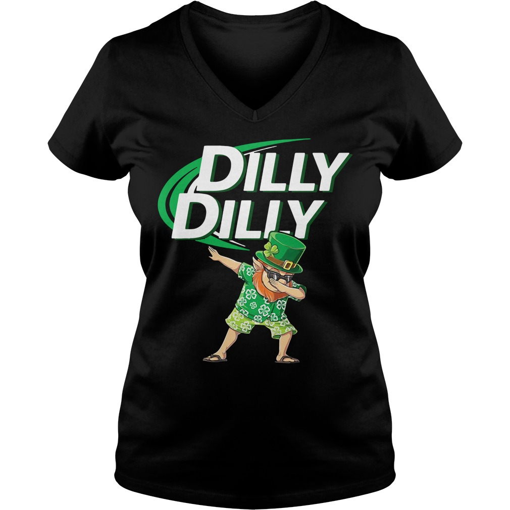 Leprechaun dabbing Dilly Dilly St Patrick's Day V-neck t-shirt