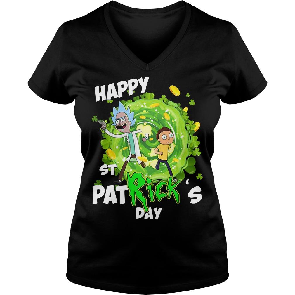 Rick and Morty Happy St. Patrick's day V-neck t-shirt