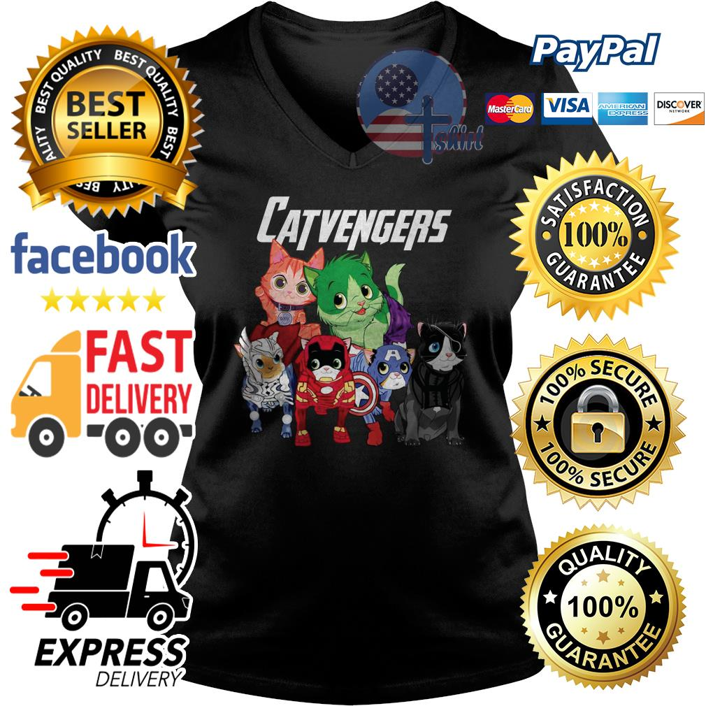Cat Catvengers Avengers V-neck t-shirt
