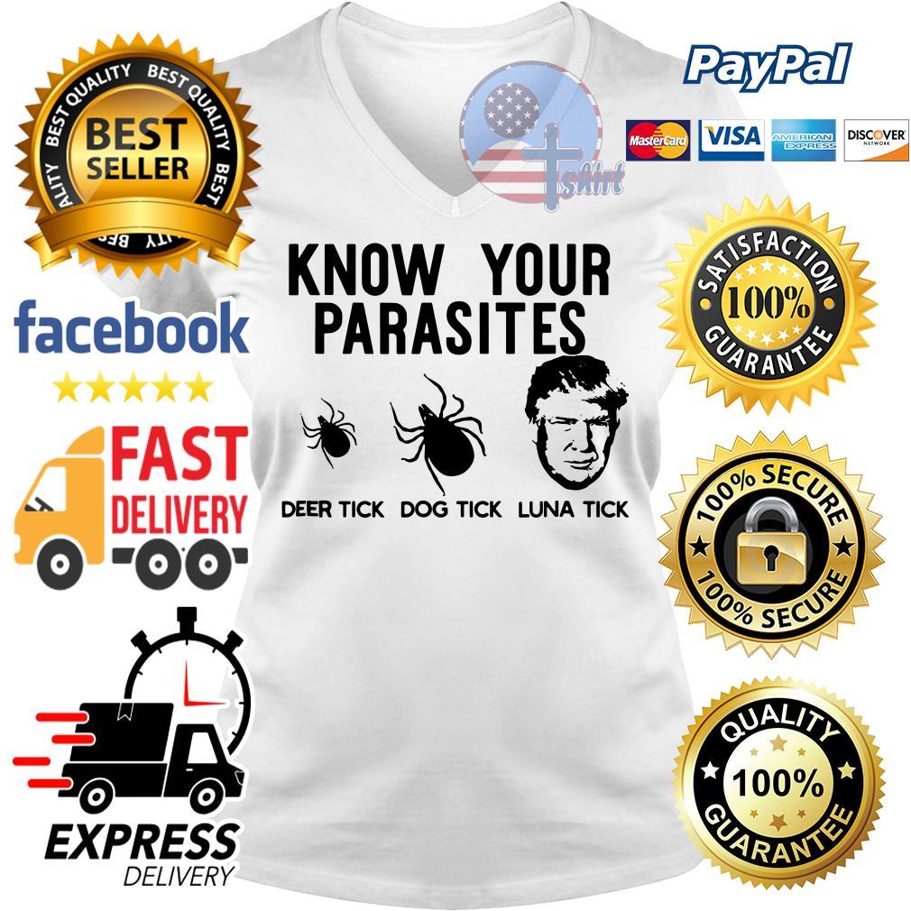 Know your parasites deer tick dog tick luna tick V-neck t-shirt