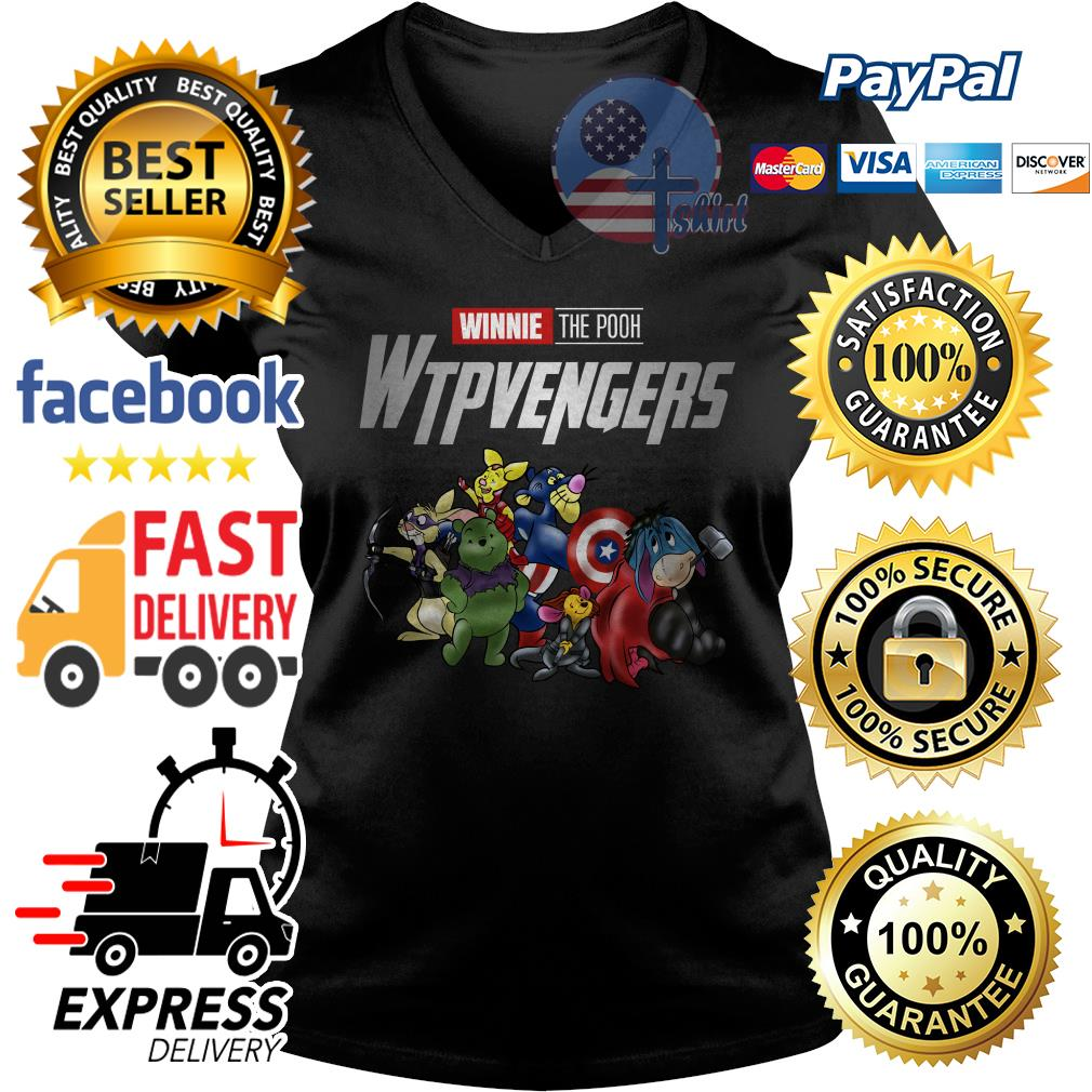Marvel Avengers Endgame winnie the pooh wtpvengers Avengers V-neck t-shirt