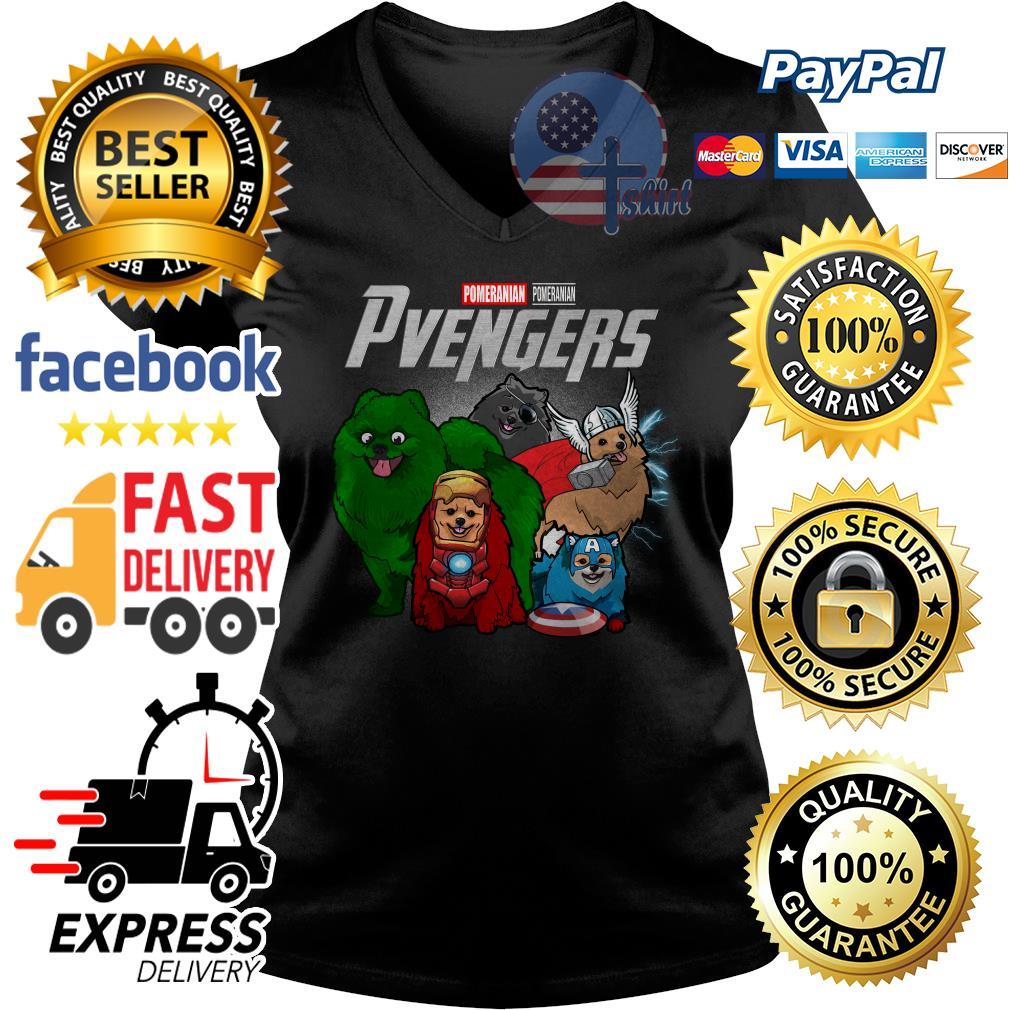 Pomeranian Pomeranian Pvengers Avenger V-neck t-shirt