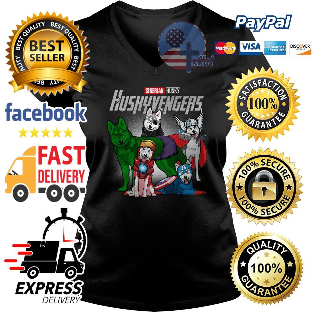 Siberian Husky Huskyvengers Avenger V-neck t-shirt