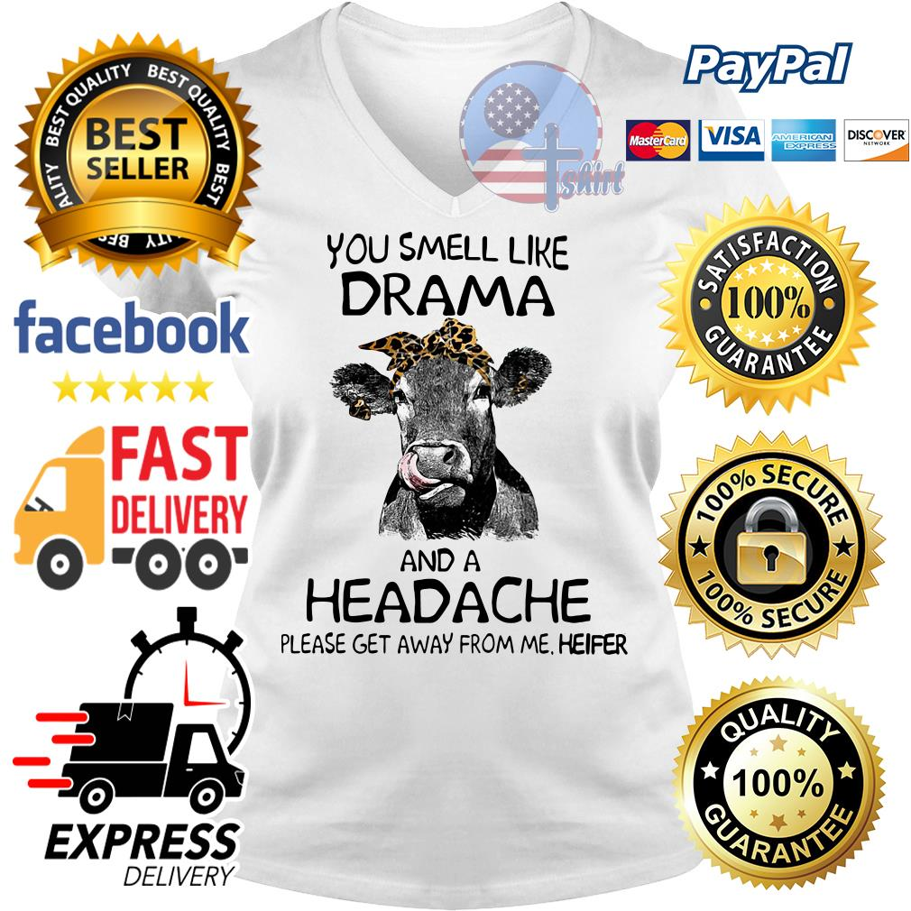 You smell like drama and a headache please get away from me heifer V-neck t-shirt