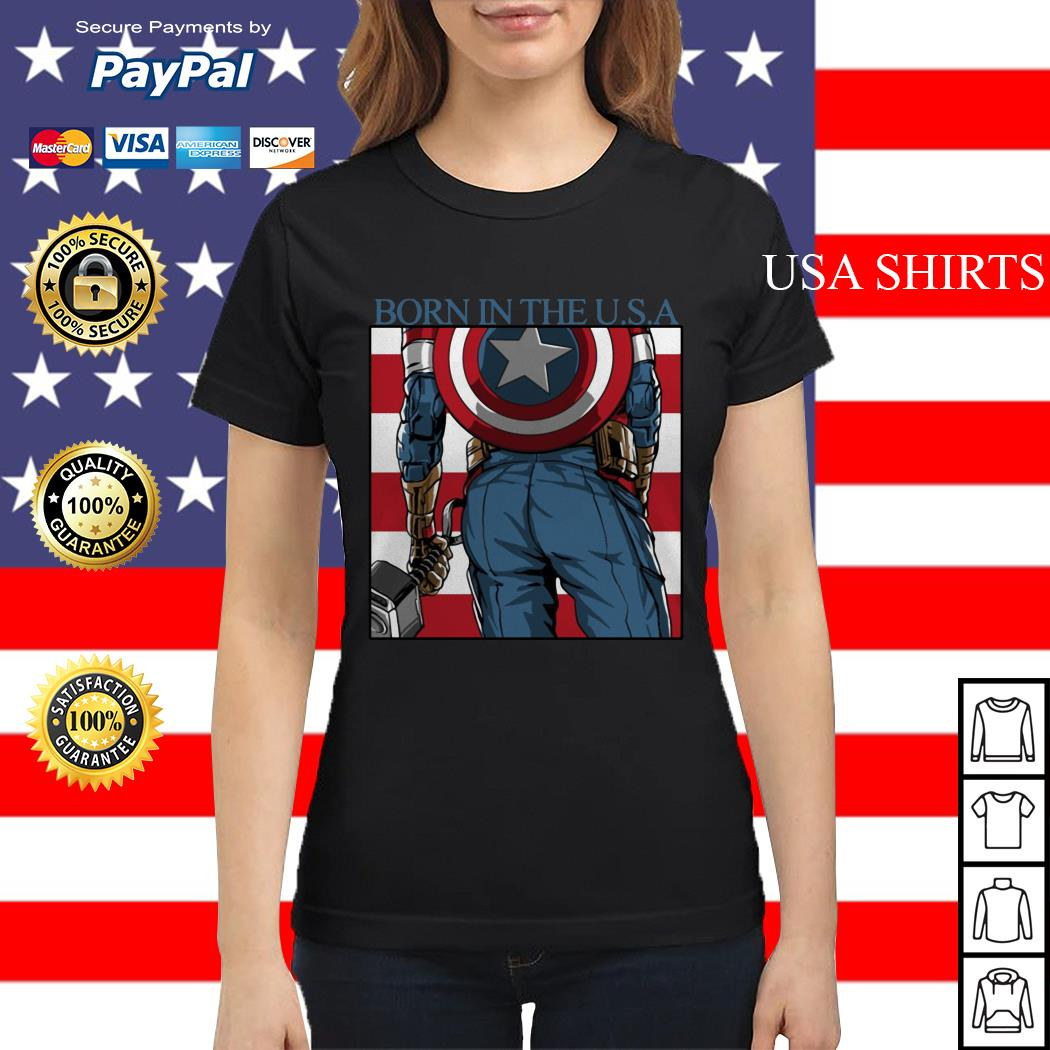 Captain America Chris Evans born in the USA Ladies tee