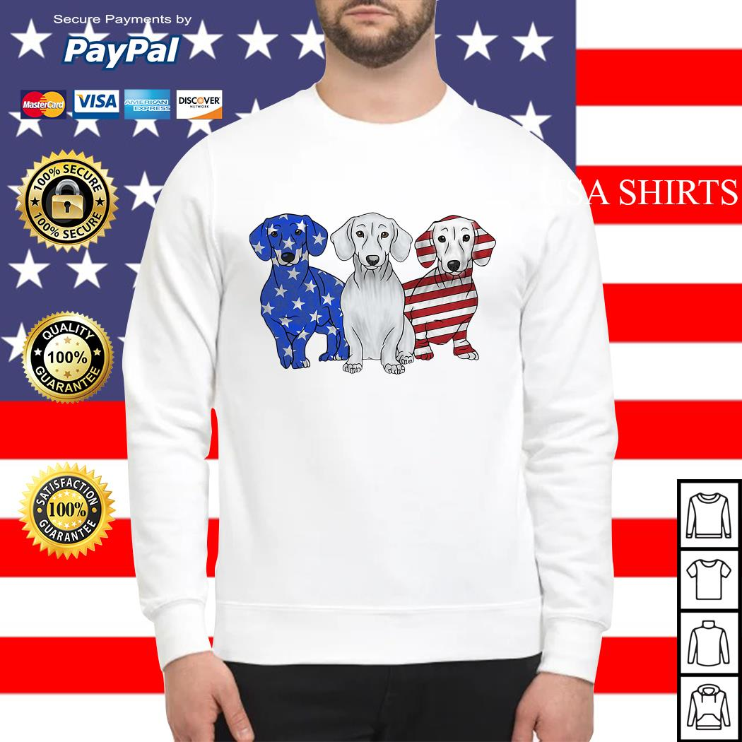 Dachshund 4th July Independence Day American Flag Sweater