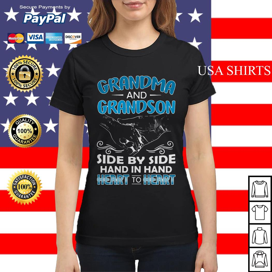 Grandma and Grandson side by side hand in hand heart to heart Ladies tee