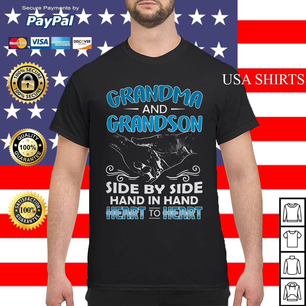 Grandma and Grandson side by side hand in hand heart to heart shirt