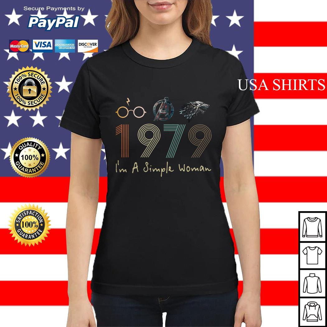 I'm a simple woman Harry potter Avengers and Game of Thrones 1979 Ladies tee