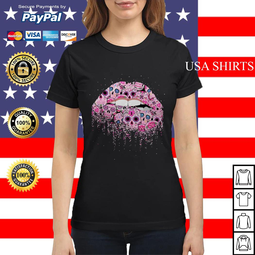 Lip pink skull tattoo Ladies tee