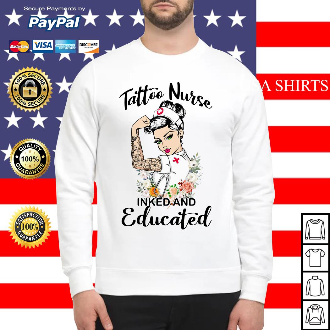 Strong woman tattoo nurse inked and educated Sweater