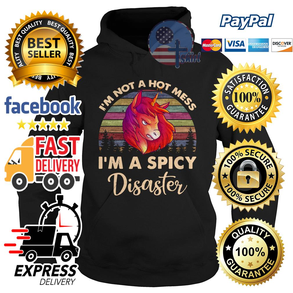 Unicorn I'm not a hot mess I'm a spicy Disaster vintage Hoodie