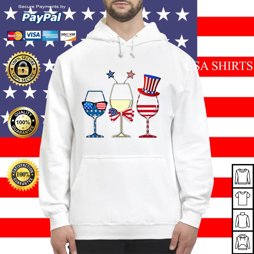 4th July Independence day holiday three glasses wine Hoodie