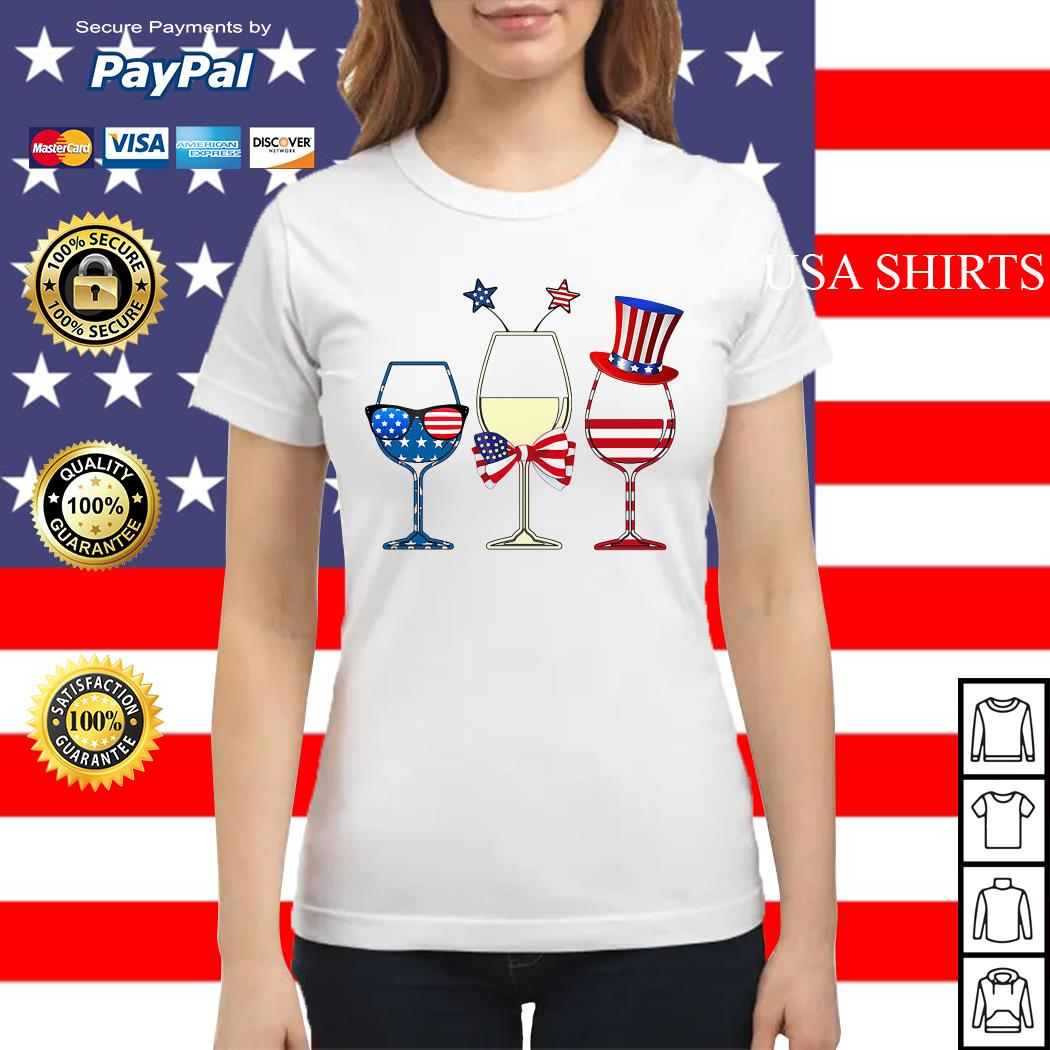 4th July Independence day holiday three glasses wine Ladies tee