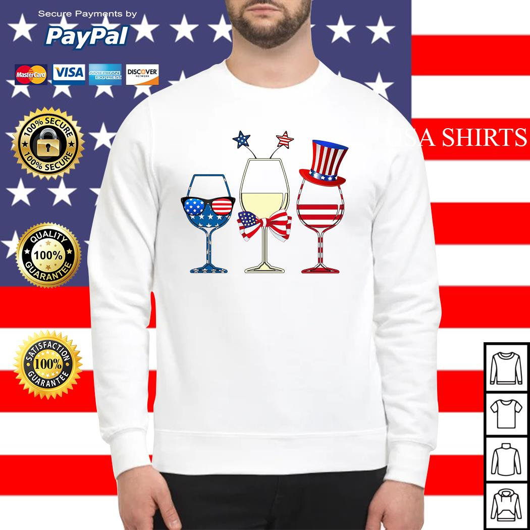 4th July Independence day holiday three glasses wine Sweater