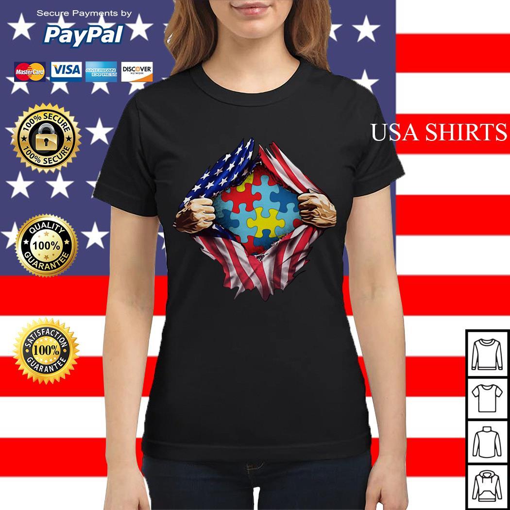Autism awareness inside American flag Ladies tee
