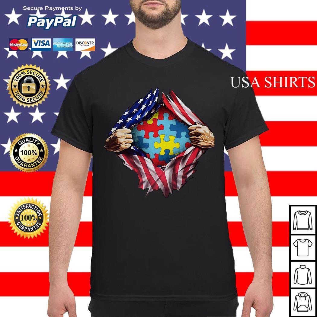Autism awareness inside American flag shirt