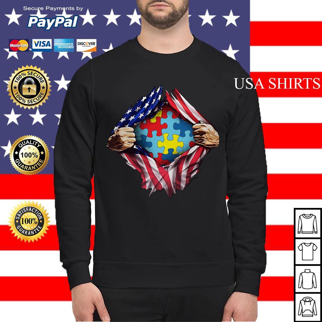 Autism awareness inside American flag Sweater