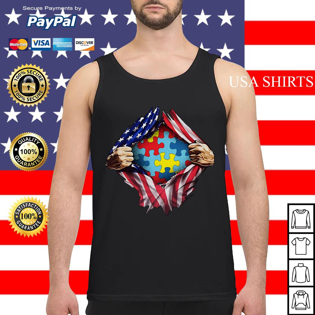 Autism awareness inside American flag Tank top