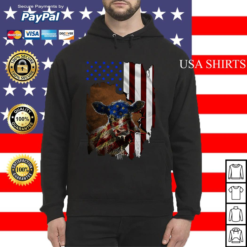 Cow American flag 4th of July Independence day Hoodie