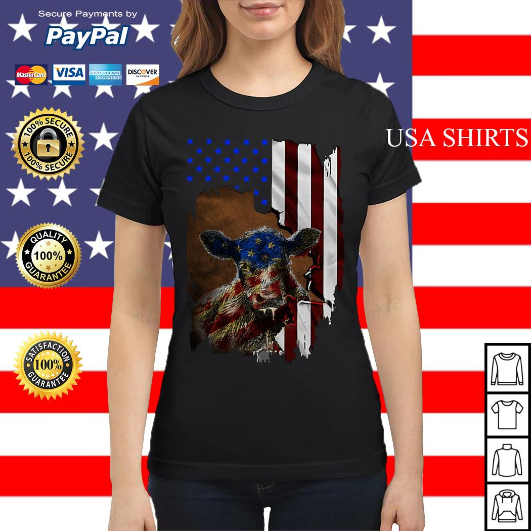 Cow American flag 4th of July Independence day Ladies tee