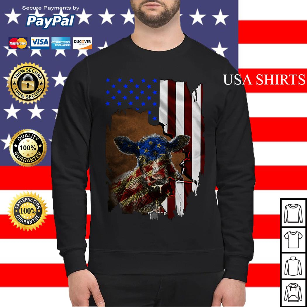 Cow American flag 4th of July Independence day Sweater