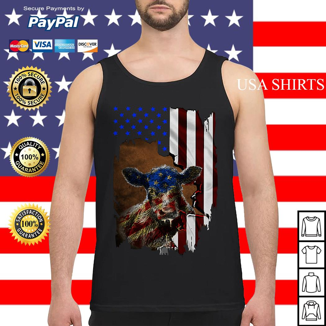 Cow American flag 4th of July Independence day Tank top
