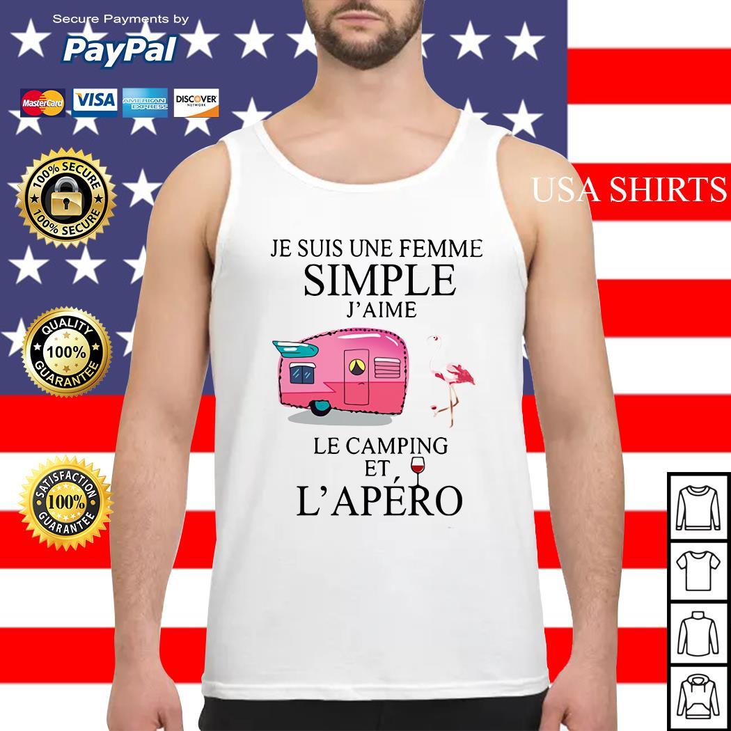 Flamingo Je suis une femme simple j'aime le camping et l'apero Tank top