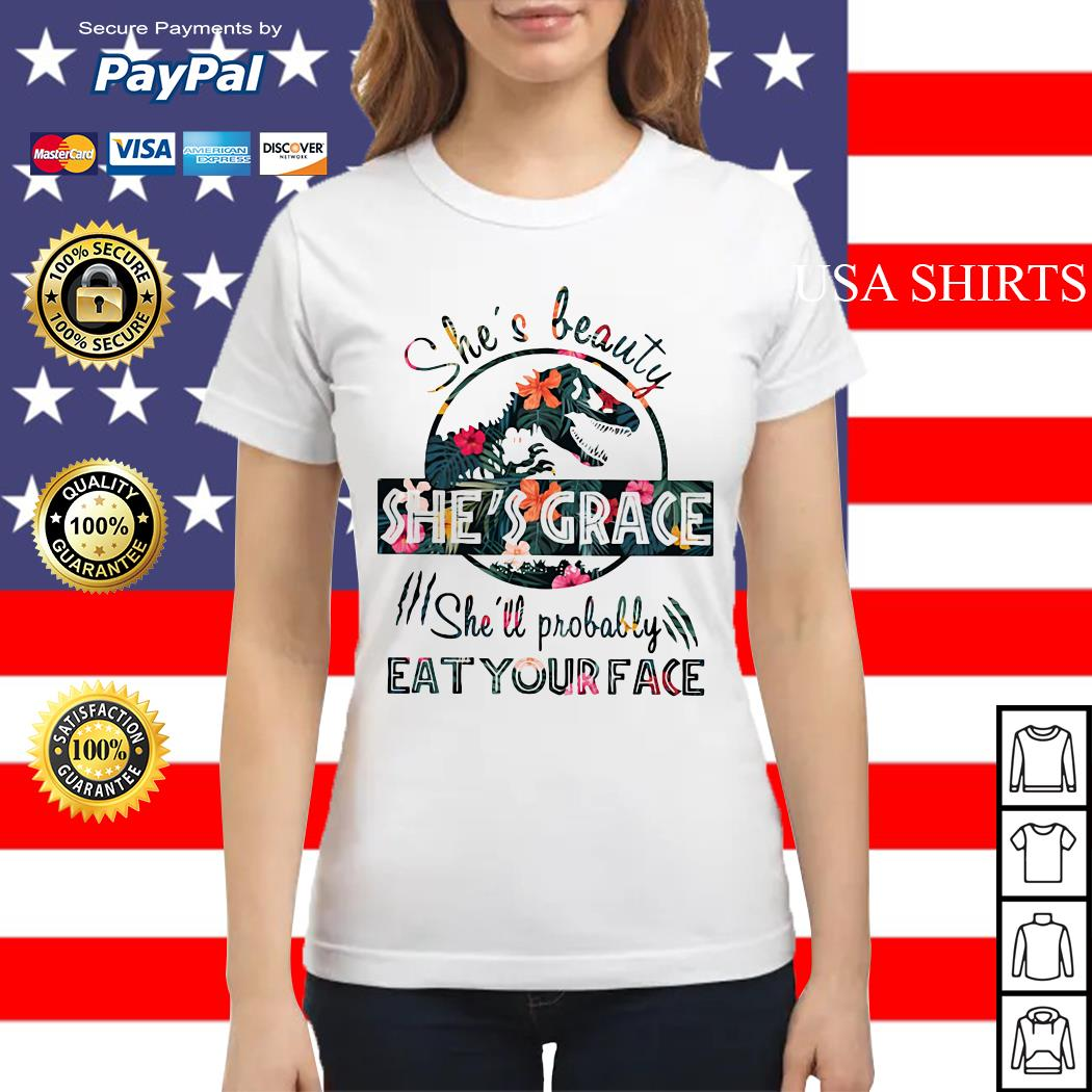 Floral Jurassic she's probably eat your face Ladies tee