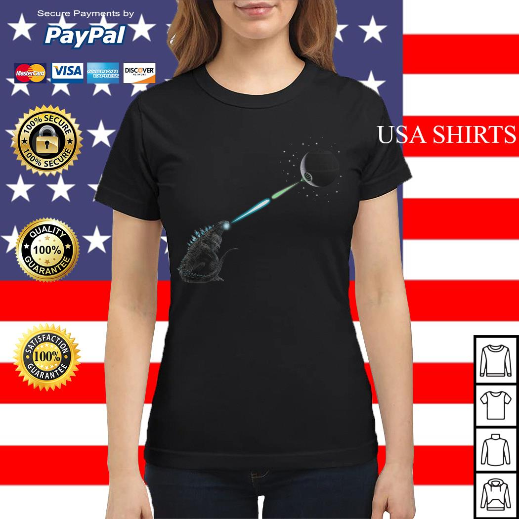Godzilla And Death Star Fight Ladies tee