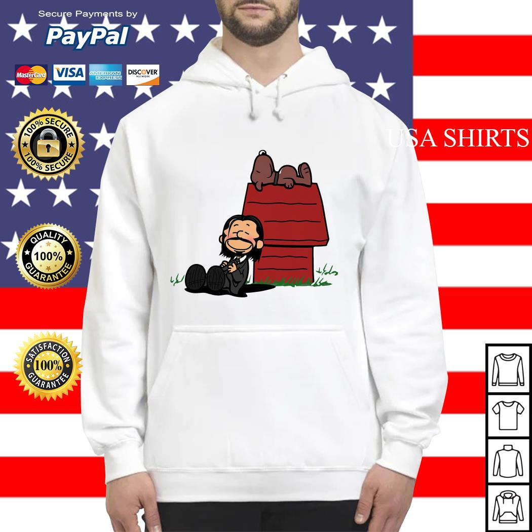 John Wick and dog in the style of peanuts Charlie Brown and Snoopy Hoodie