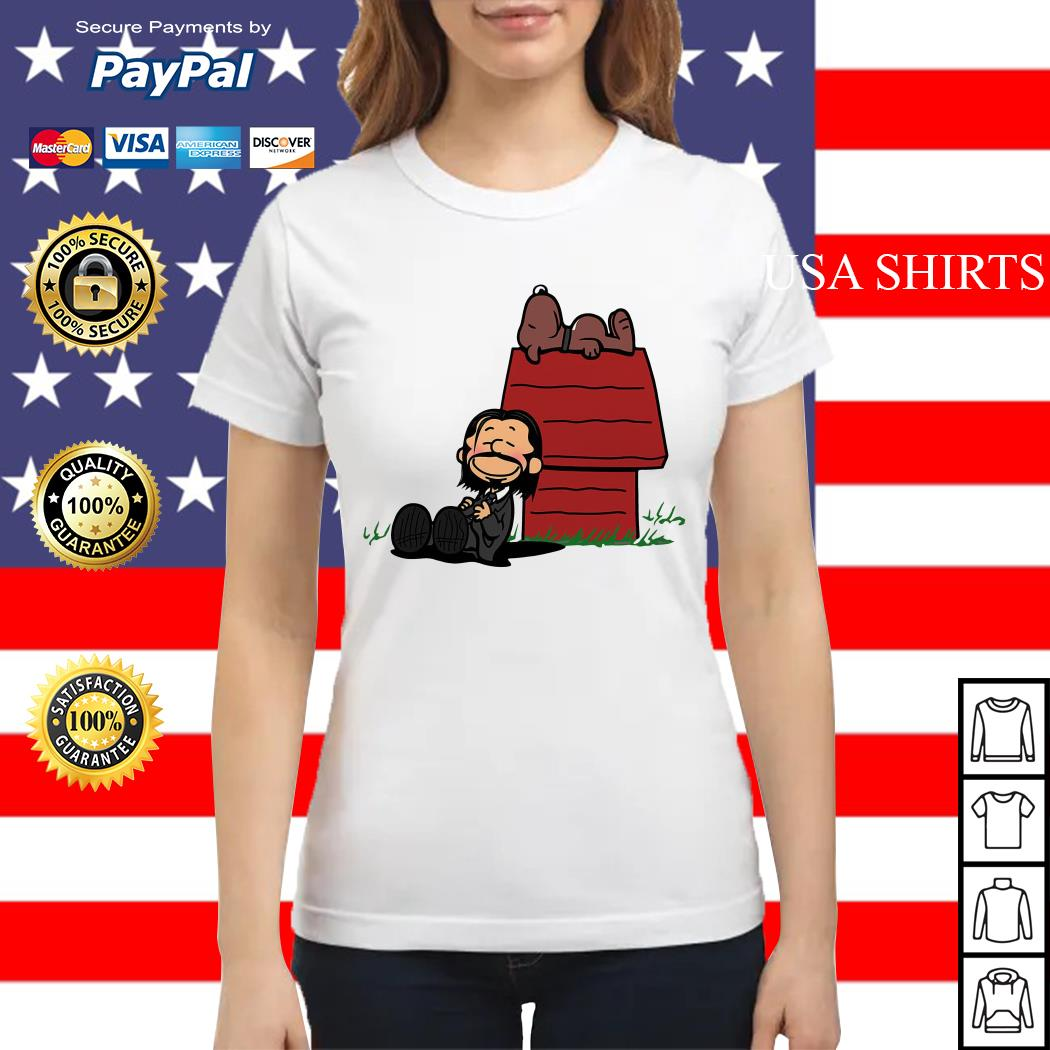 John Wick and dog in the style of peanuts Charlie Brown and Snoopy Ladies tee
