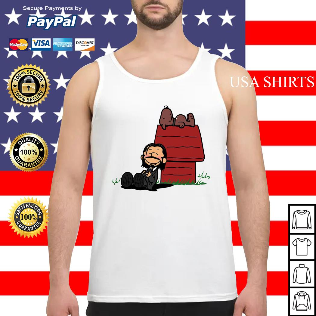 John Wick and dog in the style of peanuts Charlie Brown and Snoopy Tank top