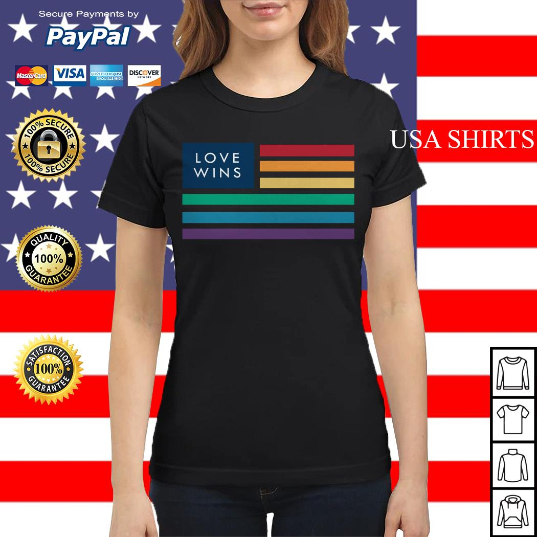 LGBT love wins flag America Ladies tee