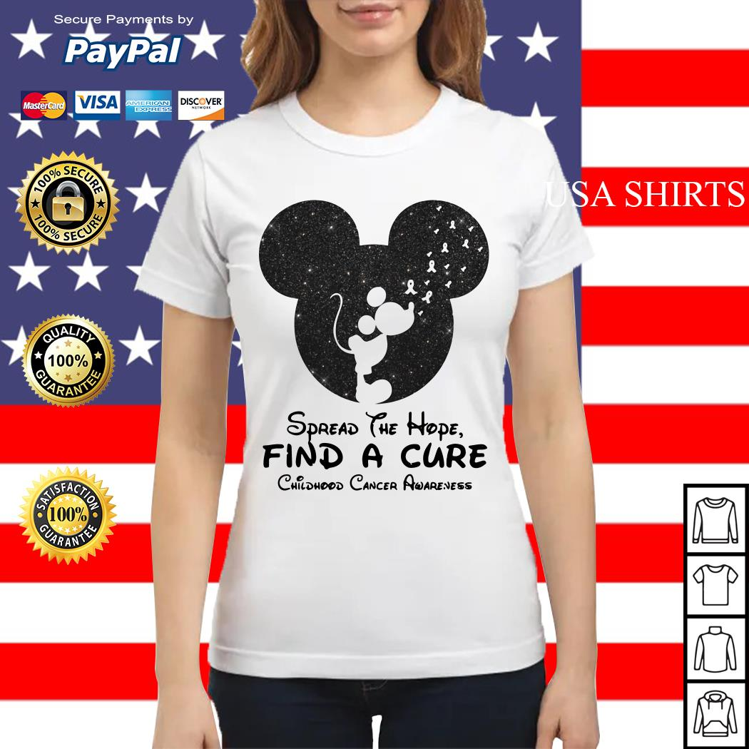 Mickey mouse Spread the hope find a cure childhood cancer awareness Ladies tee