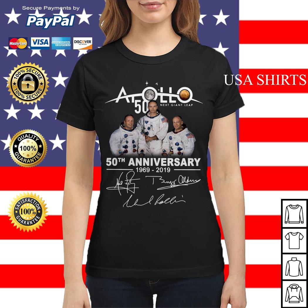 NASA Apollo 50th Anniversary 11 moon landing 1969-2019 signature Ladies tee