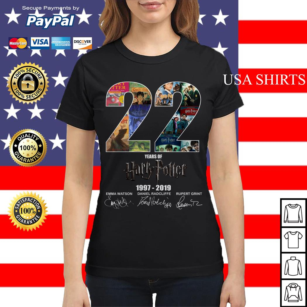Official 22 Year of Harry Potter 1997-2019 signature Ladies tee