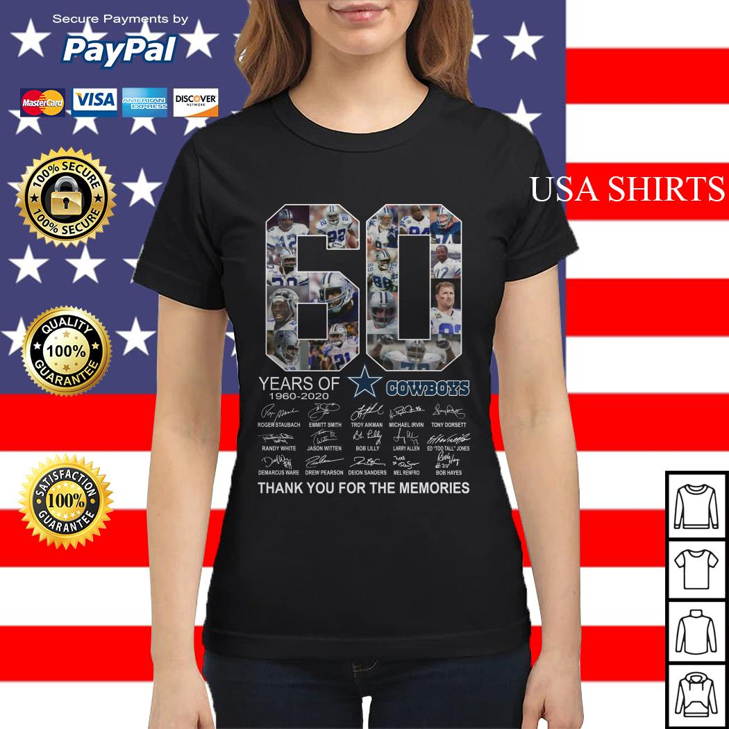 Official 60 years of Dallas Cowboys Thank you for the memories Ladies tee