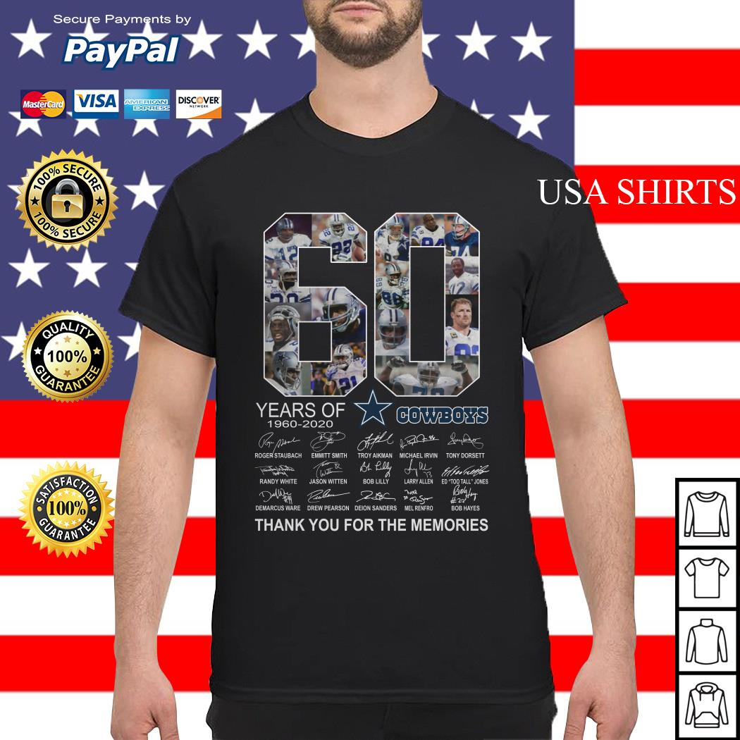 Official 60 years of Dallas Cowboys Thank you for the memories shirt