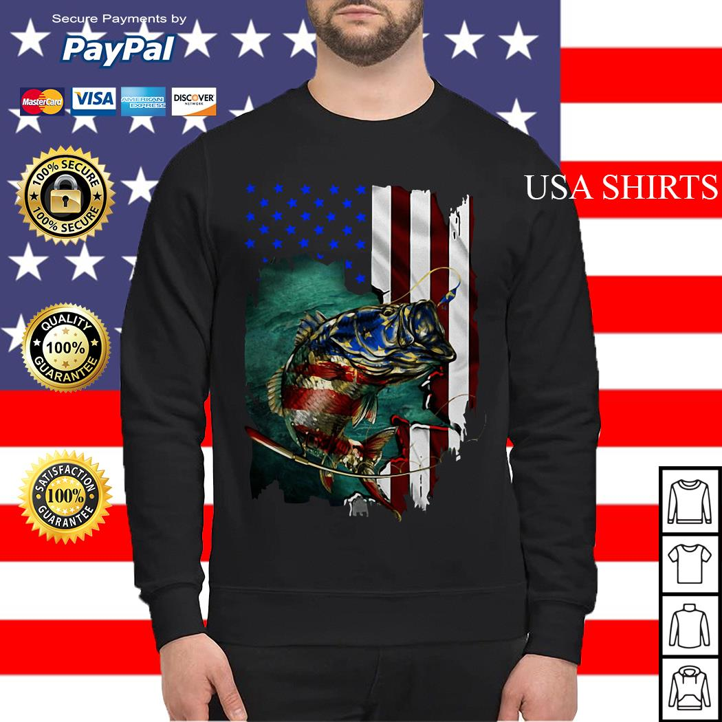 Original Bass Fishing 4th Of July American flag Sweater