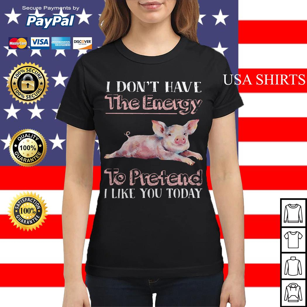 Pig I don't have the energy to pretend i like you today Ladies tee