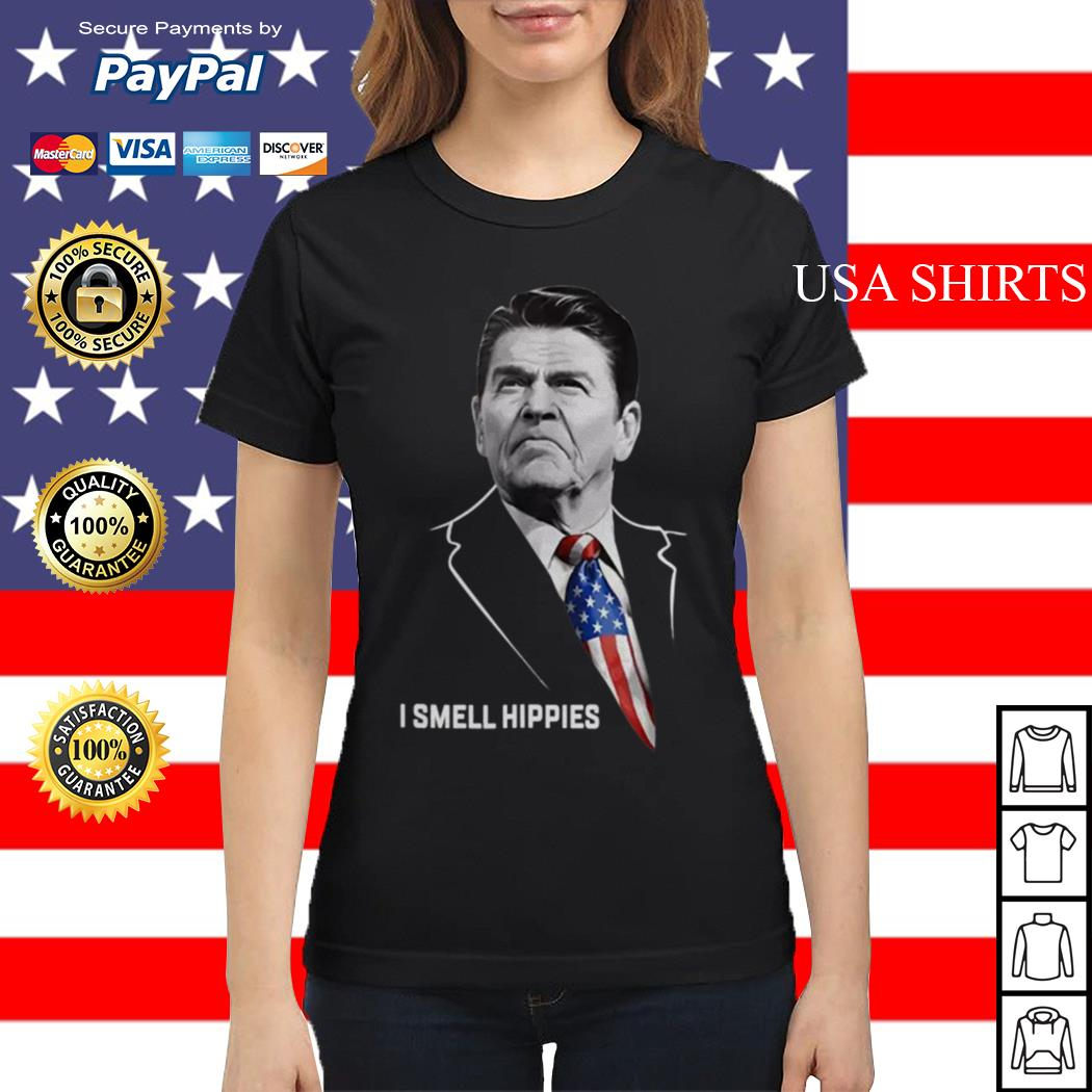 Ronald Reagan I smell Hippies Ladies tee