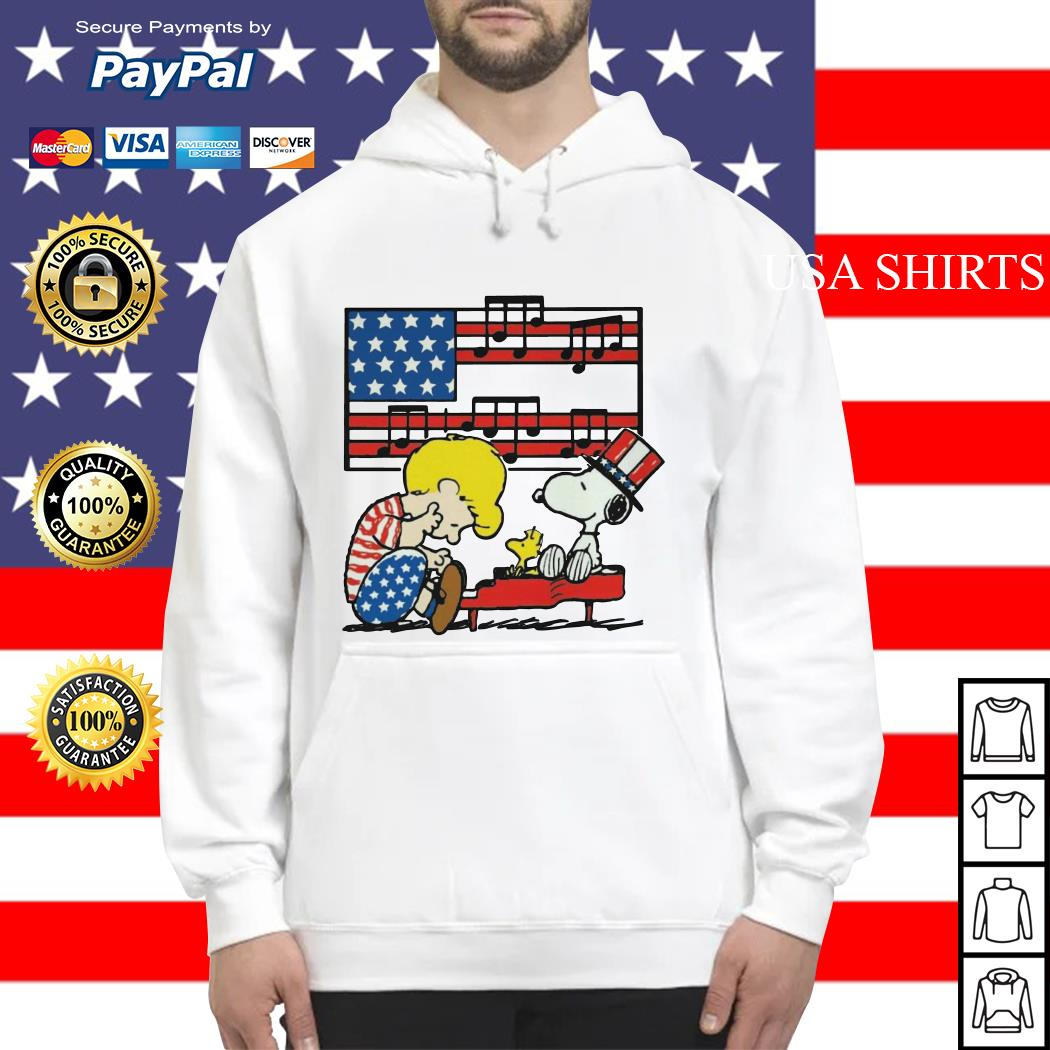 Schroeder playing piano Woodstock and Snoopy 4th of July Hoodie