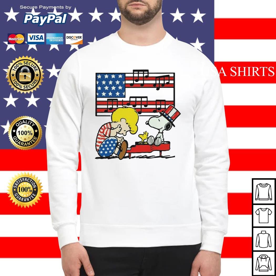 Schroeder playing piano Woodstock and Snoopy 4th of July Sweater